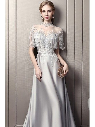 Luxury Grey Tassels Beading Satin Evening Dress Illusion Neckline With Long Train