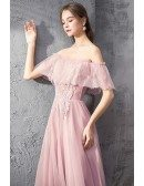 Fairy Long Tulle Off Shoulder Pink Prom Dress With Lace