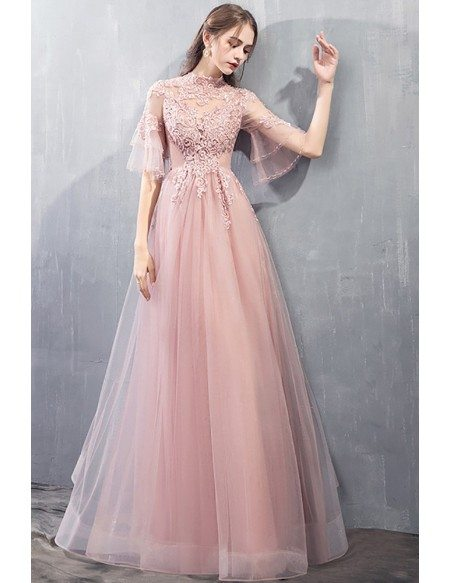 Gorgeous Beaded Pink Long Prom Dress Tulle With Flare Sleeves Beading