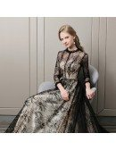 Vogue Long Black Lace Prom Dress With Sheer Long Sleeves