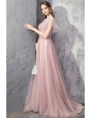 Fairy Long Train Pink Tulle Prom Dress With Puffy Sleeves Vneck