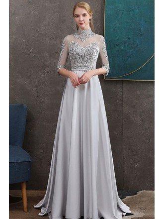 Beaded High Neck Long Grey Satin Formal Dress Elegant With Sheer Half Sleeves