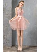 Pretty Beaded Lace Short Pink Prom Party Dress For Juniors