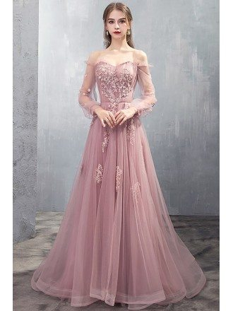 Long Tulle Rose Pink Prom Dress Off Shoulder With Appliques