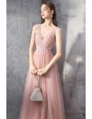 Beaded Flowy Long Tulle Pink Prom Dress Vneck With Bling Sequins