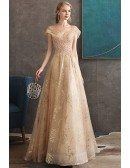Luxury Champagne Gold Sequined Long Formal Prom Dress With Sparkly Sequins