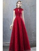 Beaded Cap Sleeves Full Lace Long Party Dress Burgundy For Formal