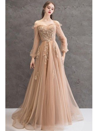 Off Shoulder Long Sleeve Prom Dress Champagne Tulle With Appliques