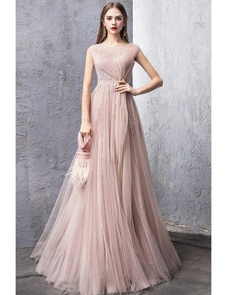 Unique Luxe Pleated Pink Tulle Long Prom Dress Modest With Cap Sleeves