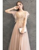 Gorgeous Puffy Sleeves Fairy Prom Dress Pink With Hand Beading