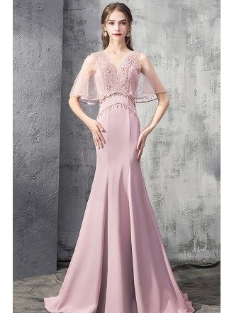 Luxury Mermaid Pink Formal Dress With Beaded Cape Sleeves