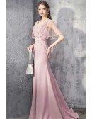 Luxury Mermaid Pink Formal Dress With Beaded Cape Sleeves