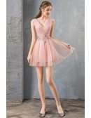 Pretty Short Tulle Pink Prom Dress Cute Pleated Vneck