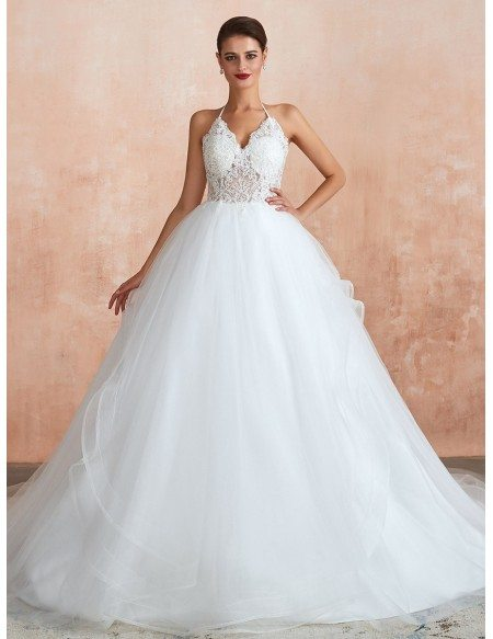 Modern Backless See-through Lace Tulle Ball Gown Wedding Dress With Halter Strap