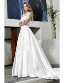 High Quality White Satin Wedding Dress Off Shoulder Straps With Train
