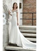 High-end Fitted Mermaid Satin Wedding Dress With Beaded Cap Sleeves Long Train