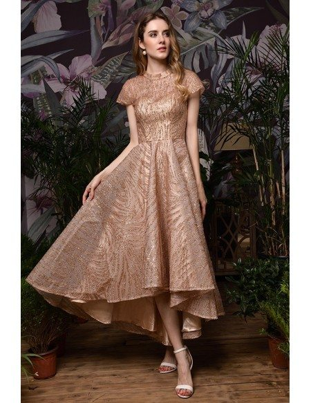 Vintage Sparkly Rose Gold Sequins High Low Formal Dress With Cap Sleeves