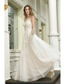 Gorgeous Long Tulle Beach Wedding Dress Lace One Shoulder With Sweep Train