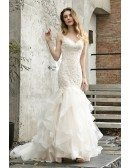Celebrities Vneck Lace Wedding Dress With Beautiful Ruffles Train