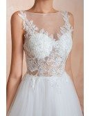 Affordable Sleeveless Long Tulle Wedding Dress With See-through Lace Top