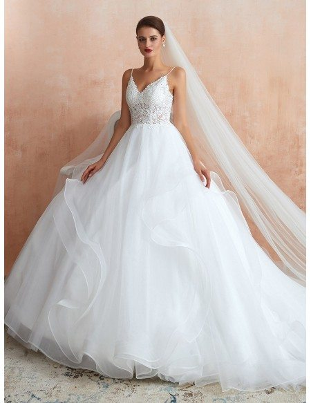 Elegant Princess Lace Tulle Ball Gown Wedding Dress With Spaghetti Straps Ez34369 Gemgrace Com