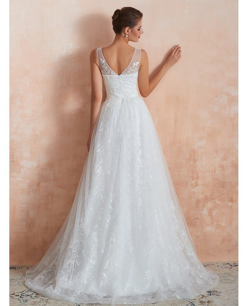 Inexpensive Simple All Lace Beach Bridal Dress For 2020