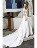 Gorgeous White Lace Wedding Dress Off Shoulder With Long Train