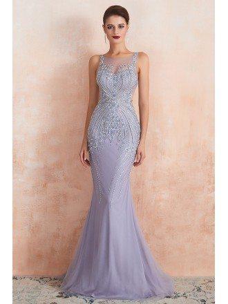 2020 Sexy Mermaid Light Purple Petite Prom Dress With Heavy Hand-beading
