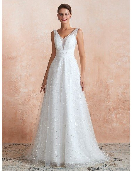 Romantic Lace A Line Sweetheart Summer Wedding Dress With Pearls