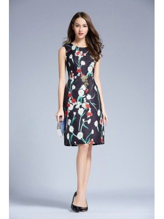 Summer Floral Printed A-Line Chiffon Knee Length Wedding Guest Dress