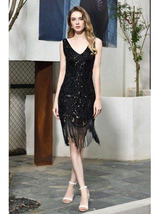 High Quality Vintage Fringe Black Formal Party Dress Tassels With Beading