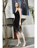 High Quality Vintage Fringe Black Formal Party Dress Tassels With Beading