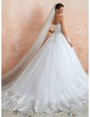 Strapless Princess White Sequin Lace Long Wedding Dress With Train