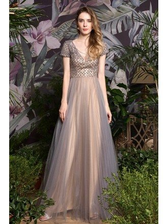 High-end Beaded Sequins Grey Tulle Celebrities Prom Dress With Sleeves