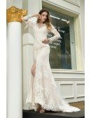 High Quality Split Front Lace Wedding Dress With Lace Long Sleeves
