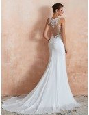 Sleeveless Mermaid Chiffon Long Beach Wedding Dress With See-through Lace Bodice