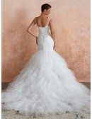 Fit And Flare Sequin Sweetheart Wedding Dress With Cascading Ruffles