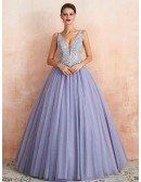 Low Back Ballgown Lavender Color Wedding Dress With Beaded Lace