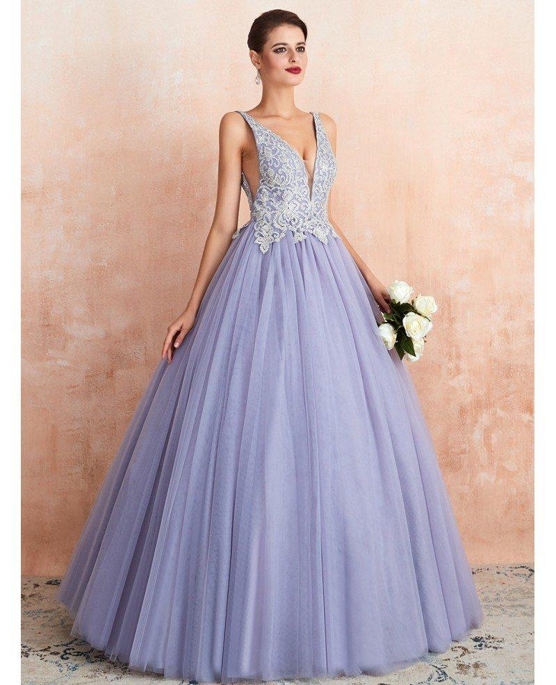 Low Back Ballgown Lavender Color Wedding Dress With Beaded Lace Ez44361 Gemgrace Com,Lace Beach Boho Wedding Dress