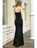 Bling Black Formal Sequins Sparkly Party Dress With Split Spaghetti Straps