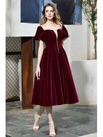 Retro Velvet Tea Length Party Dress Burgundy With Bubble Sleeves