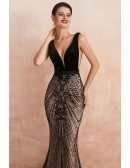 Low Back Tight Mermaid Black Long Formal Dress With Beading