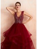 Elegant Burgundy Long Beaded Tulle Formal Dress For Women