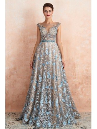 Unique Blue Lace Champagne Long Formal Dress With Crystals