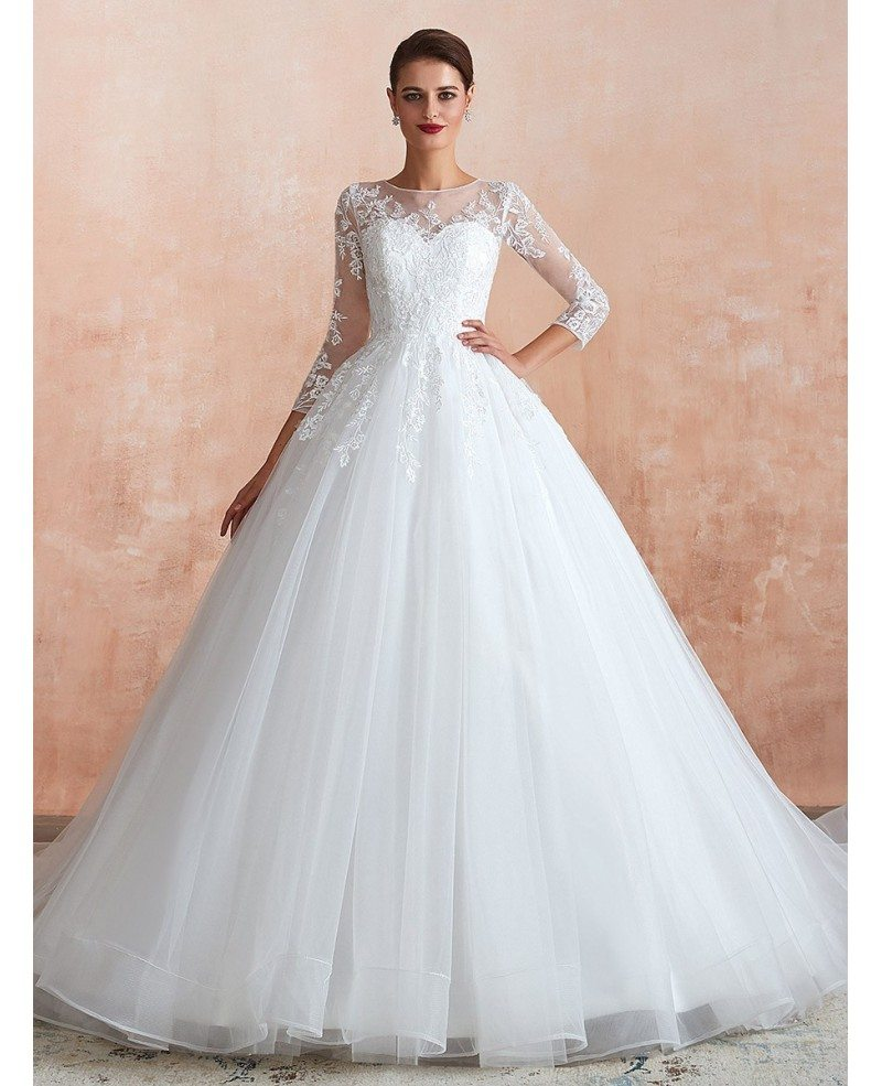 Modest Classic Tulle Lace Long Sleeve Wedding Dress With Big Ball Gown Ez37365 Gemgrace Com