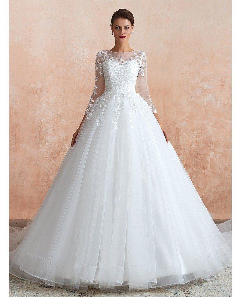 Tulle Lace Long Sleeve Wedding Dress