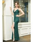 Turquoise Green Formal Sequins Sparkly Party Dress With Split Spaghetti Straps