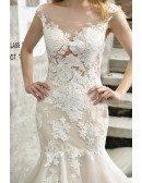 Gorgeous Flower Lace Mermaid Wedding Dress Ivory With Train