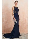 Sleeveless Fitted Mermaid Long Navy Blue Formal Dress With Open Back