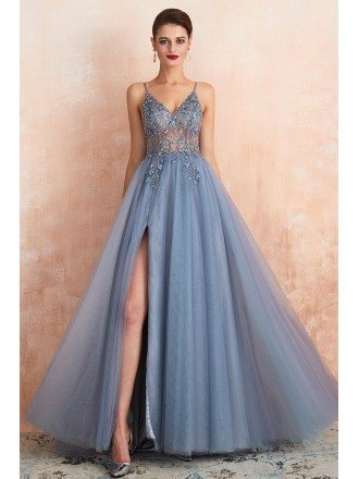 Sexy Pink Beaded Long Tulle Prom Dress With Slit Front